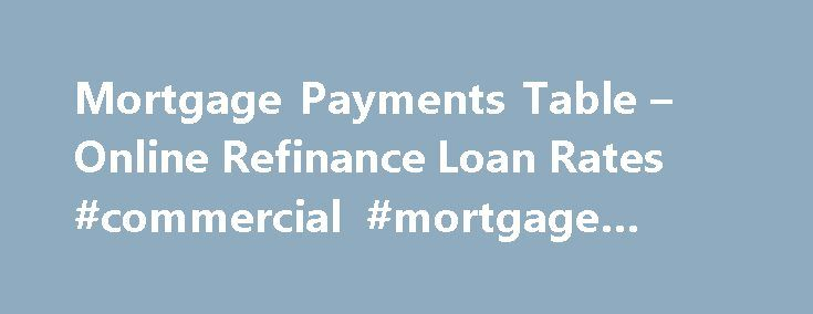 Mortgage Payments Table – Online Refinance Loan Rates #commercial #mortgage #rates http://mortgage.remmont.com/mortgage-payments-table-online-refinance-loan-rates-commercial-mortgage-rates/  #mortgage payment table # Mortgage payments table It is recommended to find an honest supplier who is willing to consider your debt situation and help you deal with it.�At times, put in efforts to find a long-term profitable creditor useful if ever you land with all the problems. But to get the best…