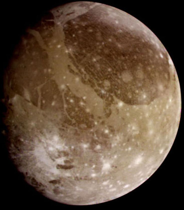 Ganymede, Jupiter's largest moon. Scientists reported Thursday, March 12, 2015 there's evidence of an ocean beneath the icy surface of Ganymede based on new observations by the Hubble Space Telescope.