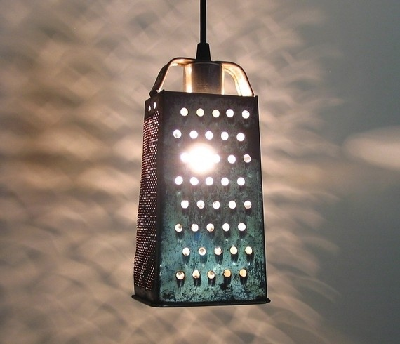 Cheese grater turned pendant (courtesy of @Illayaw104 )Pendants Create, Vintage Lamps, Lights Fixtures, Outdoor Patios, Kitchens Lights, Kitchens Nooks, Country Kitchens, Pendants Lights, Grater Turn