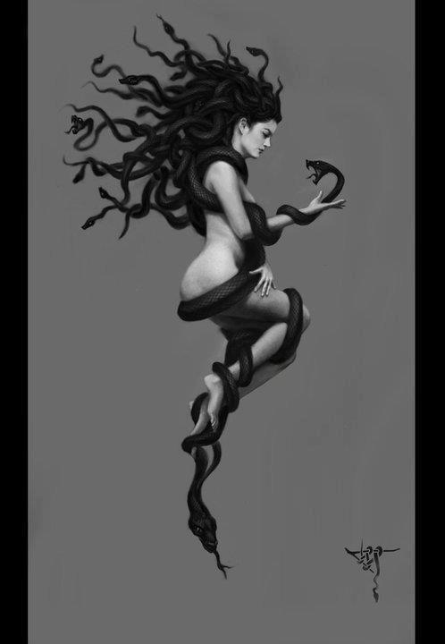 Medusa: Las gorgonas eran unos monstruos temidos por mortales e inmortales. Tan solo Posidón se atrevió a unirse con Medusa, dejándola embarazada. Atenea puso la cabeza de Medusa en su escudo para convertir en piedra a los enemigos que lo miraran.