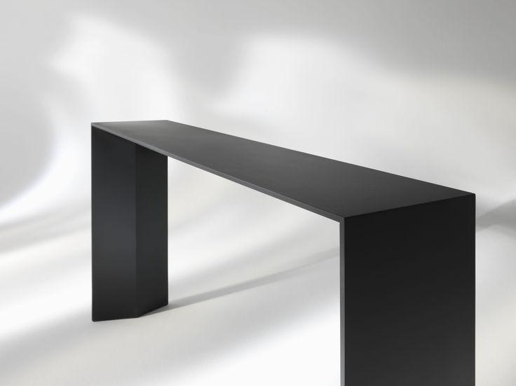 PRAIA #Console in lacquered matt satin black, white or gold with built-in retractable tray | Designed by Carlo Cumini | #home decor #design #luxury #interiors #arredamento #interiores #furniture #tables #consoles