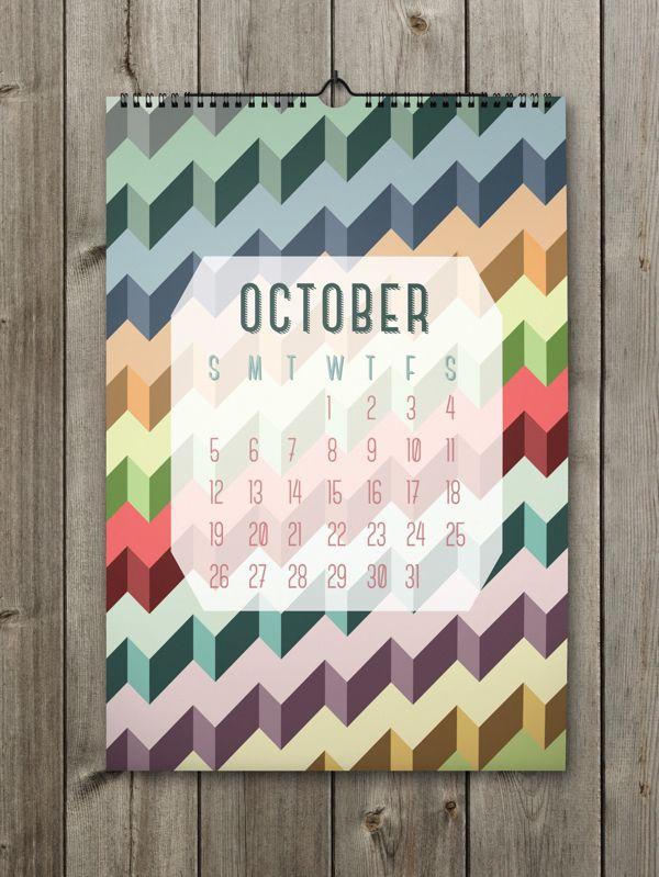 October Inspiring Calendar Design for the New Year: Shapes Calendar 2014