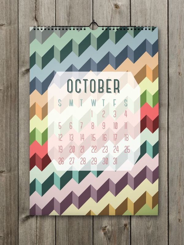 October Inspiring Calendar Design for the New Year: Shapes Calendar 2014