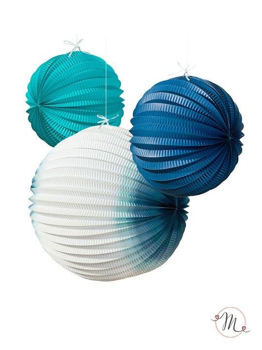 Sfere decorative mare. Sfere decorative in carta in tre motivi con le tonalità del blu. Misure: 20, 25, 30 cm. #matrimonio #weddingday #ricevimento #wedding #lanterne #decorazioni #sconti #offerta #sfere