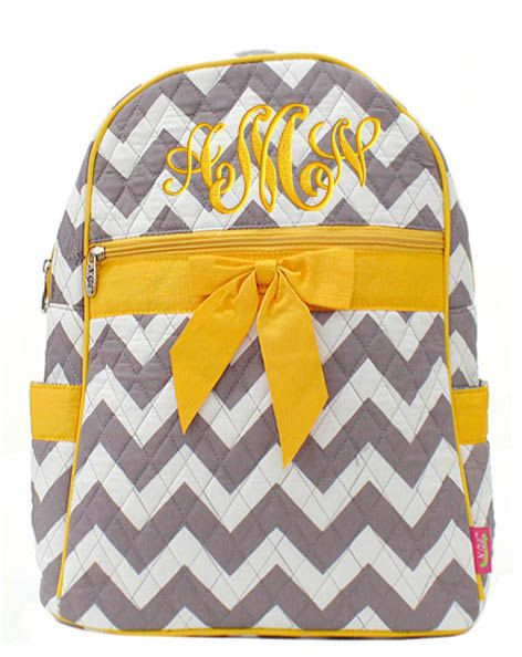 Personalized Backpack Chevron Gray Yellow Bookbag by parsik93, $33.99 <3 for work!