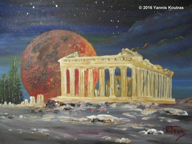 "Parthenon Full moon - Acrylic on Canvas  ""Gifts Ideas"" by YannisArt ""Yannis Koutras"""