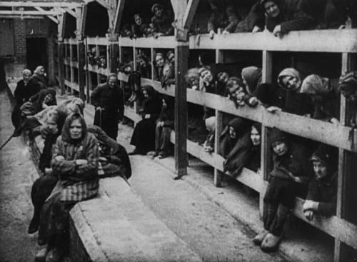 The woman's barrack at Auschwitz as it was seen immediately upon liberation by the Soviets, 27 Jan 1945