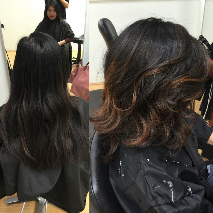 Redlands Hair Stylist Natural Black Hair with Caramel Ash  Balayage Highlights by Emily Cain