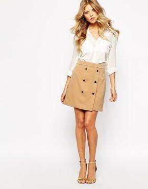 Mango Buttoned Pelmet Skirt