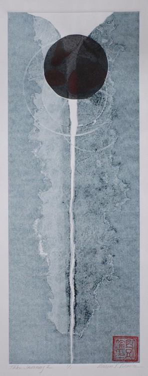 iamjapanese: Karen L Brown Taki Journey 2 Subtractive Monotype, Chine Collé