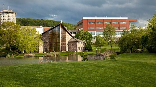 View of Ithaca College campus. The private college is in the large town of  Ithaca, New York
