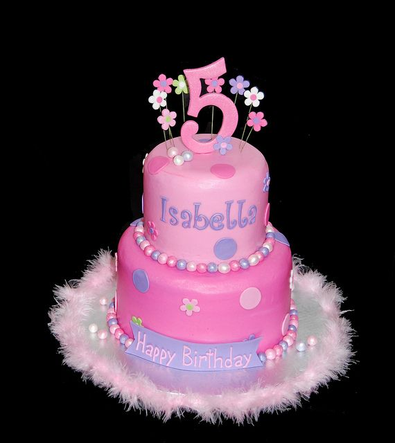 pink and purple very girly 5th birthday cake by Simply Sweets, via Flickr ( i think Abby would love this one)