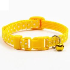 Bluelans Adjustable Polka Dot Print Nylon Dog Collar Necklace with Bell Yellow