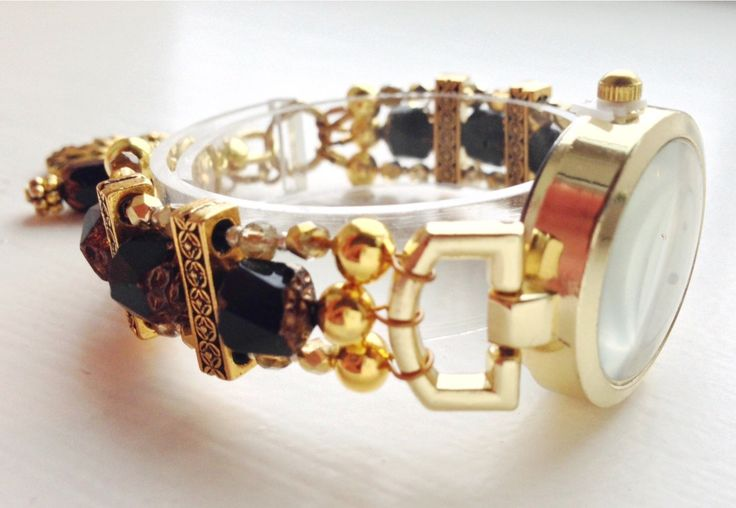 Bracelet watch, gold and black, with Baroque style beads, size SMALL