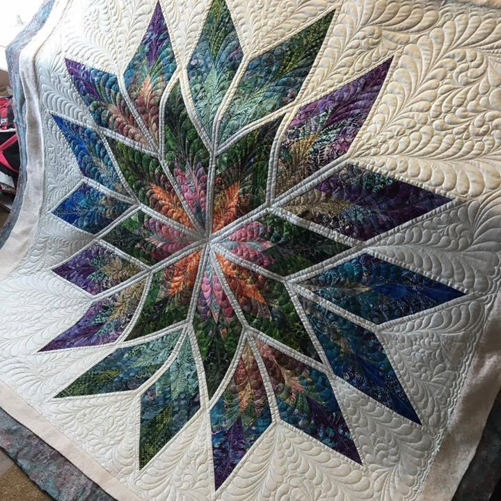 Prismatic Star, Quiltworx.com, Made by Sally McKinley, Quilted by Karrie Ann's Custom Quilting