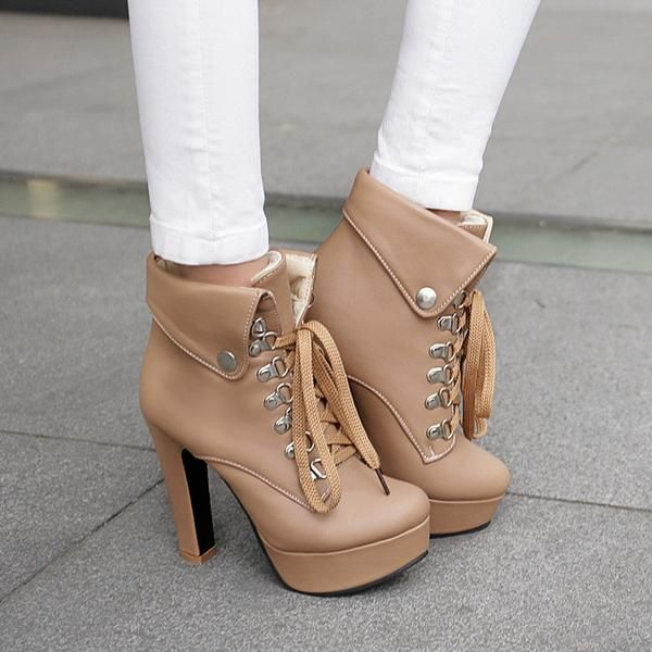 Europe Folding Lace Up High Heeled Martin Boots $39.99