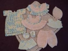 free PDF crochet pattern: Sweetly: 10 inch Baby Doll outfits