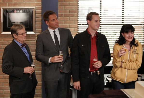 David McCallum, Michael Weatherly, Sean Murray, and Pauley Perrette celebrate NCIS's International Audience Award win for Most Watched Drama in the World