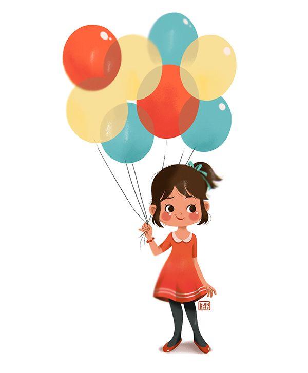 Анимированные рисунок девочки с шарами