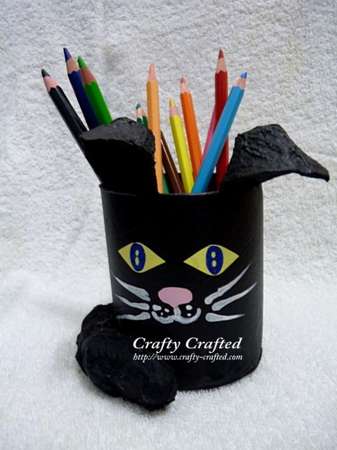 Toilet Roll Cat Pencil Holder