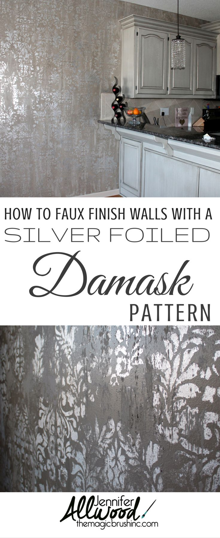 Learn how to faux finish your walls with a silver foiled damask pattern. This finish combines the elegance and sophistication of metallic foils with the ruggedness of a stone texture …making it the perfectly balanced faux for many decors. This is an absolute winner for a powder bath, a dining room, a niche or a focal wall. The color palette can be changed as well as the stencil design in the background. See more Wall & Ceiling Finish DIY videos at theMagicBrushinc.com