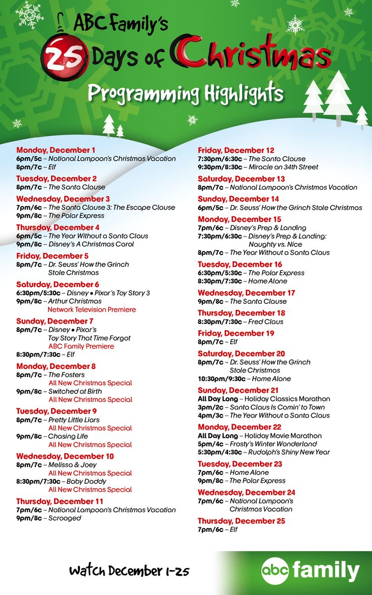 Here's this year's 25 Days of Christmas Programming guide! Go to www.Facebook.com/25DaysofChristmas for the full schedule!