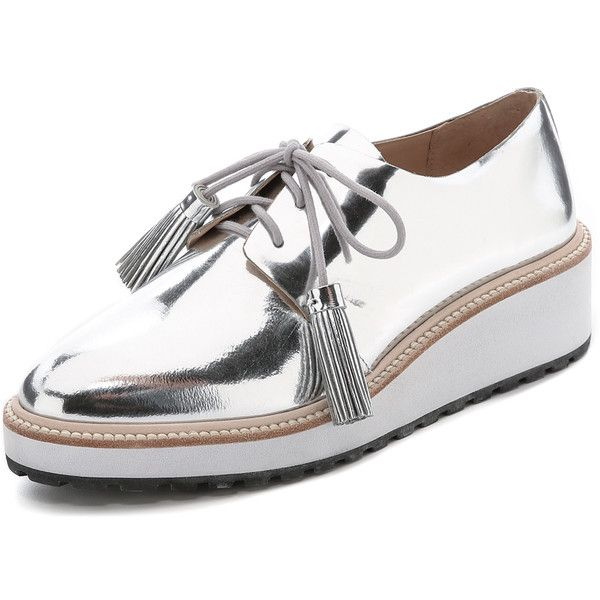 Loeffler Randall Callie Platform Oxfords ($405) ❤ liked on Polyvore featuring shoes, oxfords, flats, zapatos, sapatos, silver, oxford flats, lace up oxford flats, platform oxfords and flat platform shoes