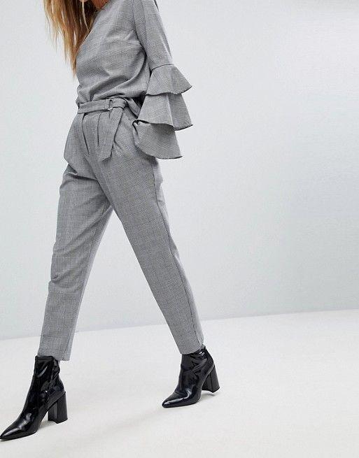 Pimkie High Waist Check Print Trouser