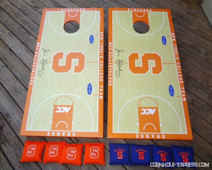 "Custom designed Syracuse Basketball ""Jim Boeheim Court"" cornhole set... pretty cool"