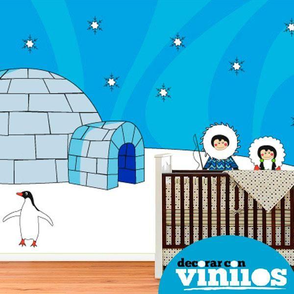 fotomural infantil en vinilo decorativo de esquimales illustrado por Fina Gibert. Mira más diseños en http://www.decorarconvinilos.com/fotomural_infantil