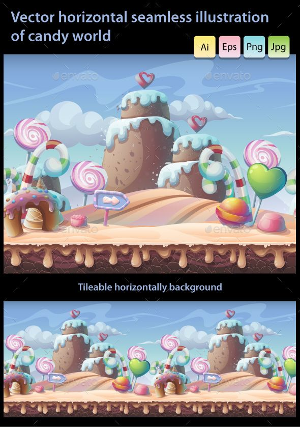Candy World - Horizontal Seamless Illustration - Backgrounds Game Assets | Download: https://graphicriver.net/item/candy-world-vector-horizontal-seamless-illustration/19060216?ref=sinzo