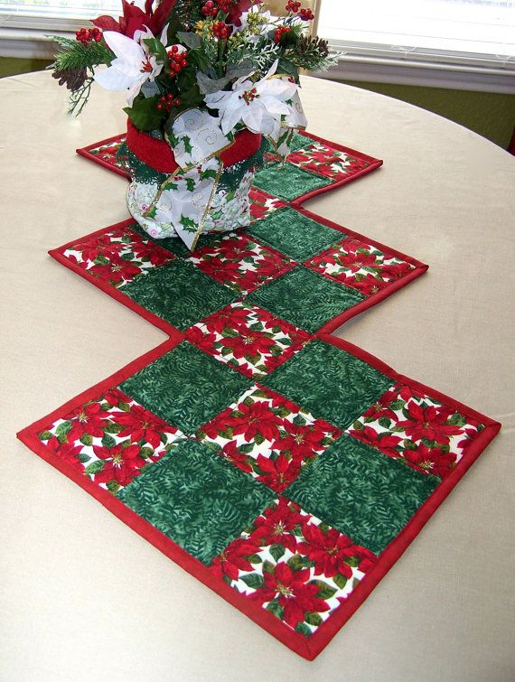 Christmas Table Runner by QuiltingFrenzy on Etsy, $40.00