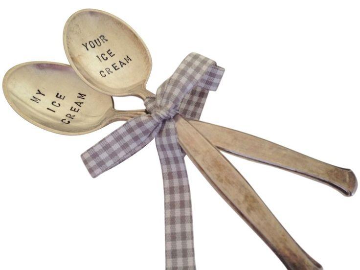 2 cucchiai d'argento lettering MY ICE - IL GHIACCIO di unique STUFF su DaWanda.com