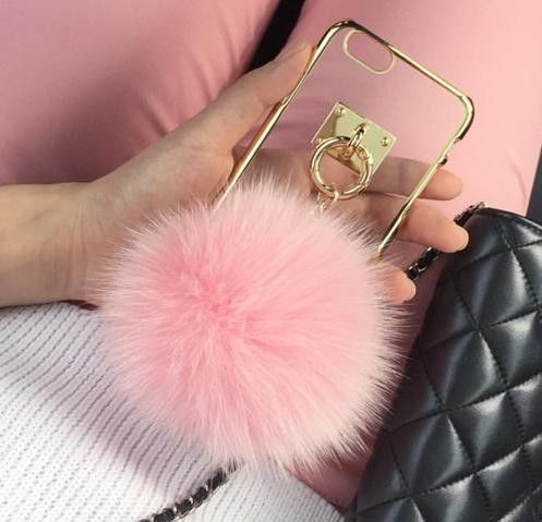Pom Pom Fur Ball Chain Case For Iphone 6 6s 6plus 6s 5 5