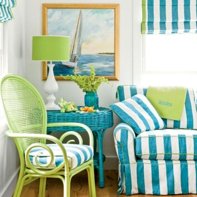 A fun beachy forever summer look with bold stripes and two bright colors.