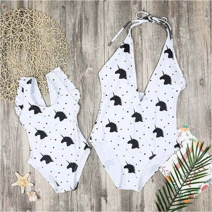 Family Matching Clothes Mom Daughter Clothes with Unicorn Outfits Cute Cartoon Unicorn Bodysuits Mommy and Me Bikini Swimwear Beachwear & Swimsuit 2019