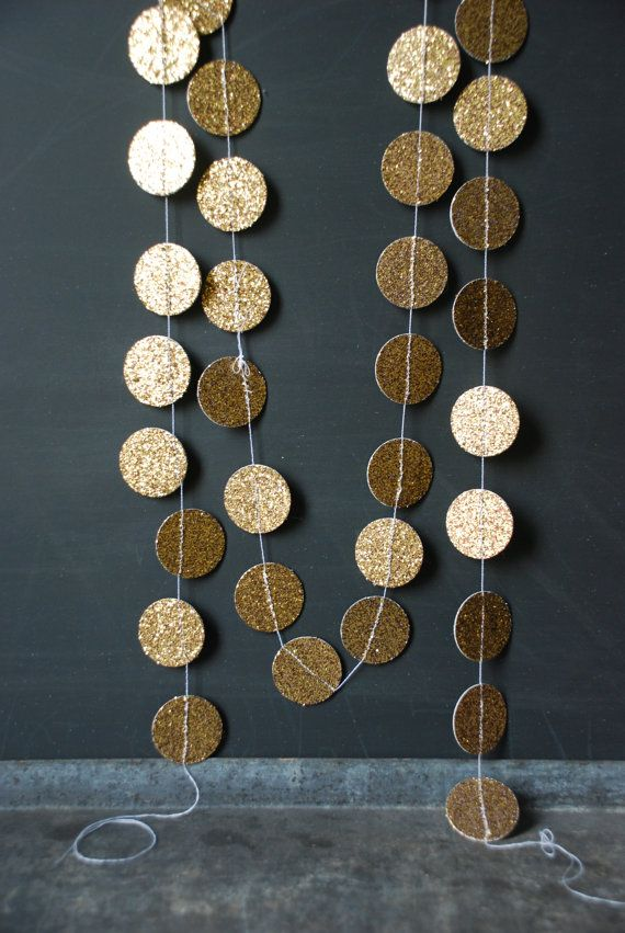 6' Gold Glitter Garland by Glitter and Grain.  These look like a fun party or Christmas decoration.