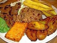 ... plantains/platanos, beans and rice/gallopinto and steak/bisteq YUMMO