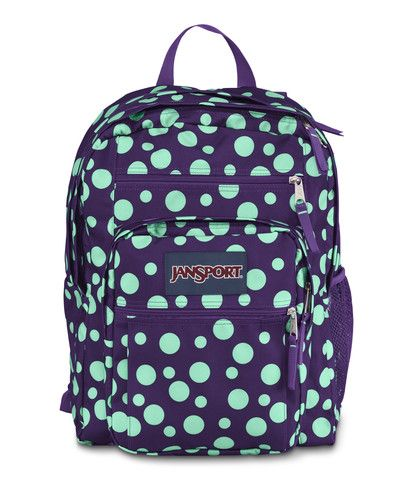 Jansport Big Student Backpack - Purple Night Mint Green Sylvia Dot Available at www.canadaluggagedepot.ca
