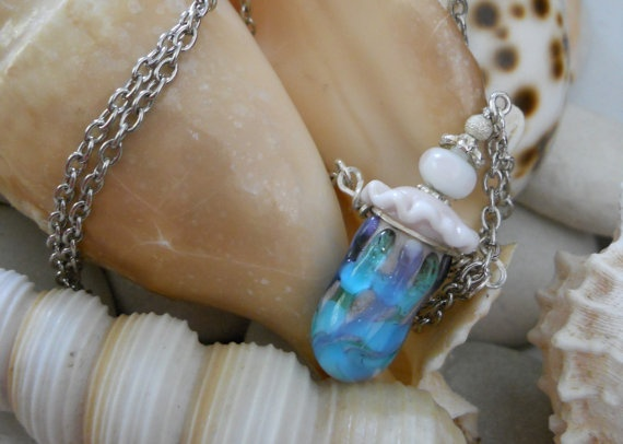 Little Bottle Necklace Hand Blown Glass by JewelleryByJody on Etsy, $45.00