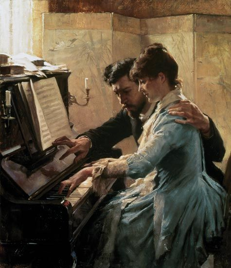 Paintings by Albert Edelfelt - At the piano