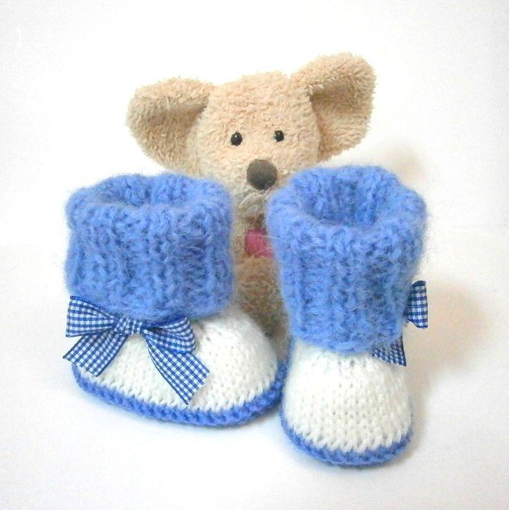 Chaussons bébé tricotés bleus noeud vichy taille 0/3 mois Tricotmuse : Mode Bébé par tricotmuse