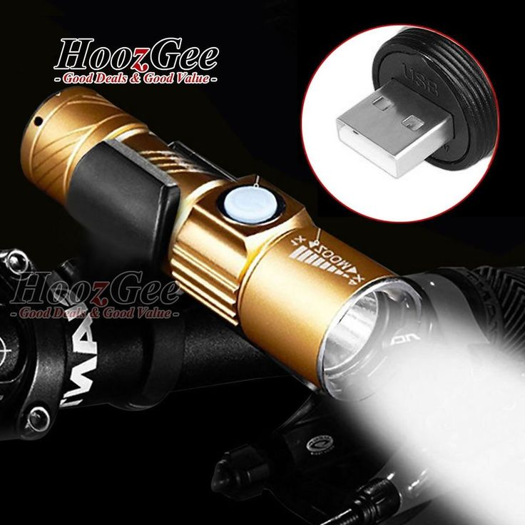 Mini Bike Bicycle USB Rechargeable LED Front Lights HeadLamp Torches Flashlight