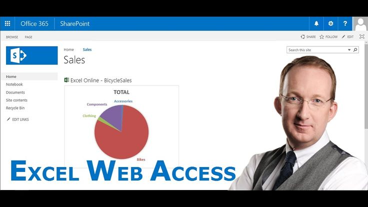 *Add a Live Excel Chart to SharePoint with the Excel Web Access Web Part* SharePoint Online Exercise on how to create an Excel chart and add it to an Excel Web Access web part on a SharePoint site: http://kalmstrom.com/Tips/SharePoint-Online-Exercises/Add-Chart-To-Excel-Web-Access.htm