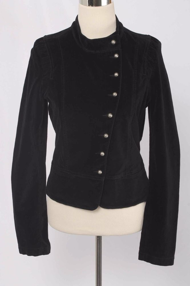 Rich & Skinny Size L Black Velvet Military Style Jacket 444 ST1016    eBay