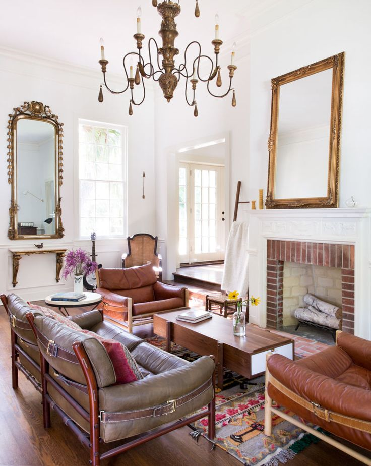 A Family Home In Texas Layered With History And Vintage Finds Living Room Red Antique Edwardian Victorian