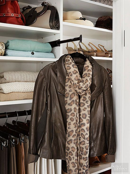 No budget for a personal stylist? Install an extendable valet rod that gives you ample hanging space for pulling together an outfit, assembling clothing for an upcoming trip, or temporarily parking incoming dry cleaning./