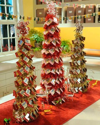 Make a tabletop Christmas-tree craft decorated with tinsel and Ghirardelli  chocolates on