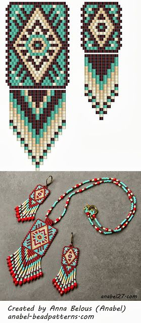 Native American style peyote pattern for earrings & pendant - Bead weaving scheme mosaic pendant earrings Anabel