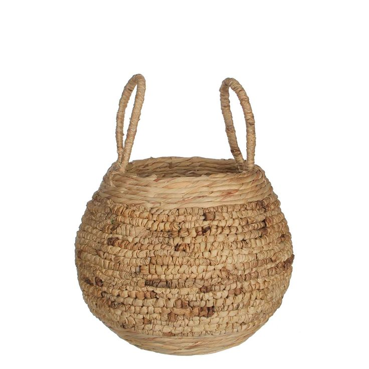 Casa Vivante - lara mand rond waterhyacint beige - maat in cm: h55 x d43cm - Manden - Landelijk